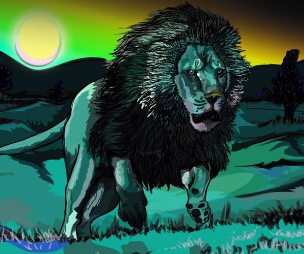 O leão na selva ilustração e design by gedjaweb